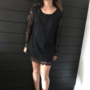 Steena lace mini dress long sleeve black petite